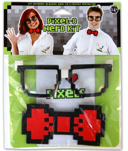 elope Pixel-8 Nerd Kit, Black, One - Nerd With Tape Glasses