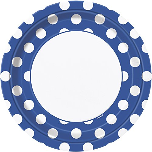 Royal Blue Polka Dot Paper Plates, 8ct -