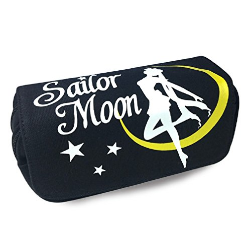 YOYOSHome Anime Sailor Moon Cosplay Pencil Holder Cosmetic Bag Wallet Pencil Case Stationery Pouch Bag Pen Bag (Black)