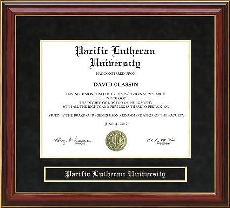 Amazon Com Wordyisms Pacific Lutheran University Plu Mahogany Diploma Frame