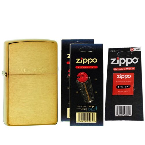 Zippo 204 Classic Brushed Brass Solid Engraved Windproof Lighter with Two Flint Card and One Wick ()