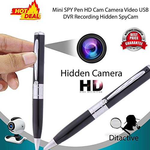 Edal Meeting Video Recorder Mini Camera Pen, Mini Portable DVR Cam Wireless PenCam Security Camcorde Hidden Recorder Cam (Silver)