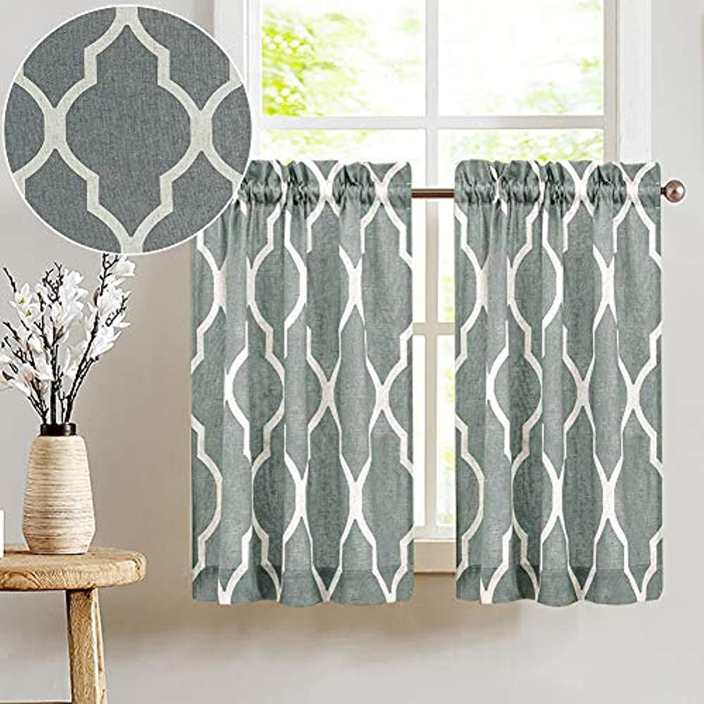 Printed Tier Curtains Kitchen Moroccan Tile Pattern Short