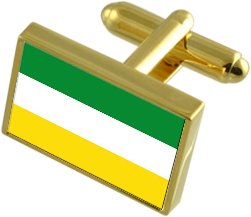 Armenia City Colombia Gold-tone Flag Cufflinks Engraved Box