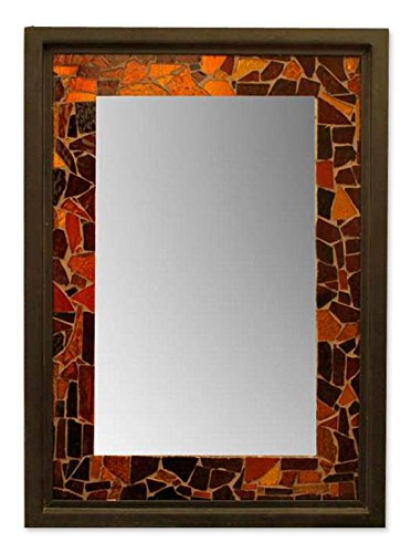 NOVICA Mosaic Steel and Glass Wall Mounted Mirror, Earthtone, '