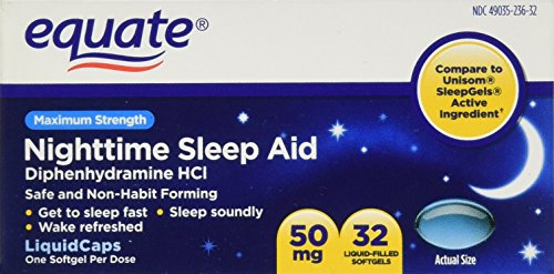 Equate - Nighttime Sleep Aid 50 mg, Maximum Strength, 32 Sof