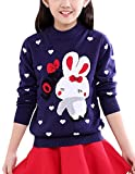 MFrannie Girl Thick Wool Knit Casual Lovely Rabbit Heart Dot Sweater Navy 3T