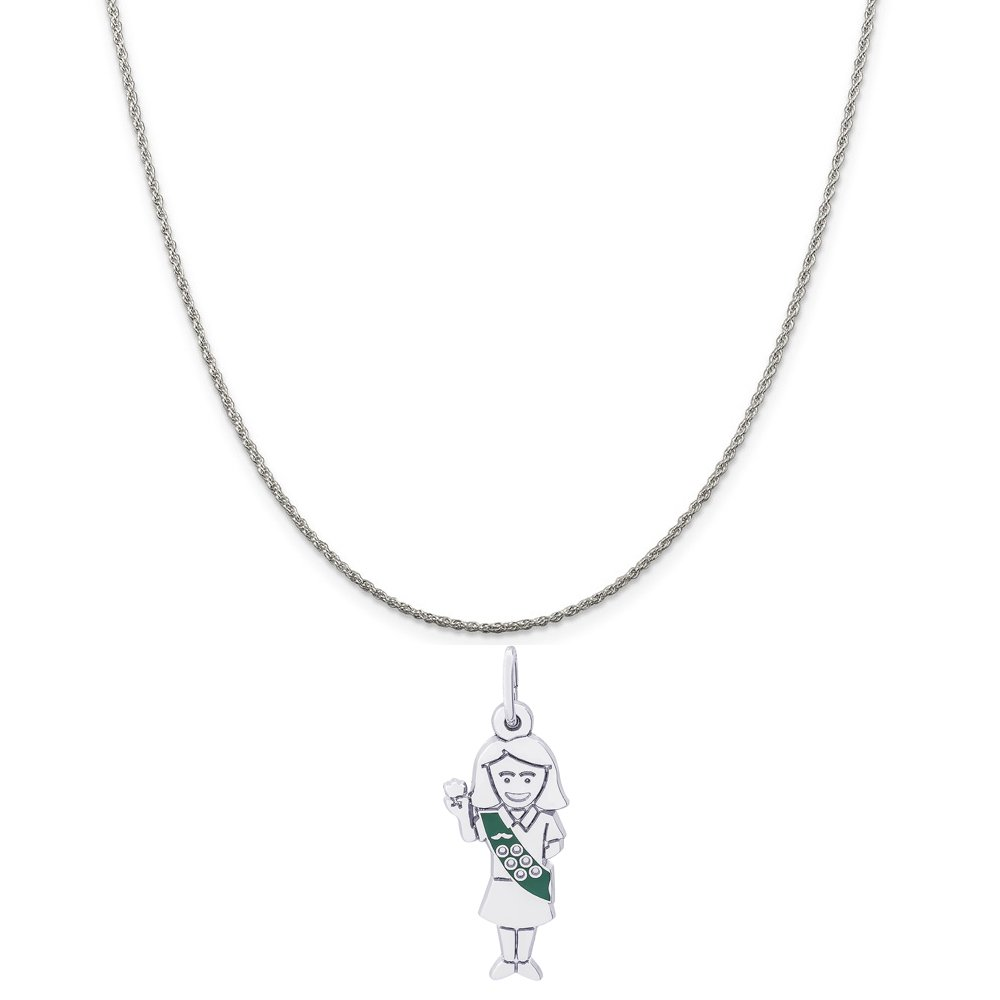 Rembrandt Charms Sterling Silver Enamel Painted Girl Scout Charm on a Rope Chain Necklace, 16'' by Rembrandt Charms