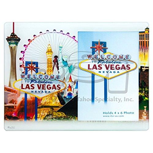 LAS VEGAS GLASS PICTURE FRAME: WHITE BACKGROUND WITH LAS VEGAS - Frame Vegas