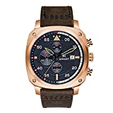 AIMANT Men's Watch Dakar Rose Gold with Brown Leather Band...