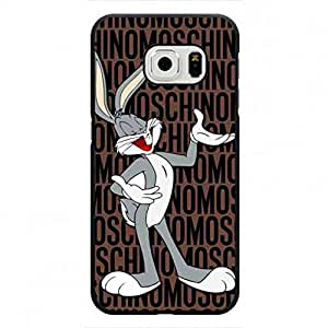 Charming Moschino Logo and Bugs Bunny Cover,Samsung Galaxy S6 Edge,Plastic Back Skin,Popular Brand Moschino From Italy funda