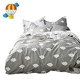 BuLuTu Cloud Print Kids Bedding Sets Queen Grey White 100% Cotton,Premium Reversible Teen Duvet Cover Set Full Gray for Boys Girls Adults Zipper Closure,Lightweight,Soft,Breathable,No Comforter