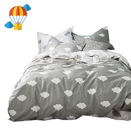 BuLuTu Cloud Print Kids Bedding Sets Queen Grey White 100% Cotton,Premium Reversible Teen Duvet Cover Set Full Gray for Boys Girls Adults Zipper Closure,Lightweight,Soft,Breathable,No Comforter from BuLuTu
