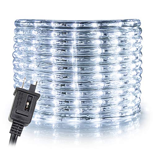 WYZworks 50 feet Cool White 3/8 LED Rope Lights | UL & ETL Certified IP65 Water Resistant Flexible 2 Wire Accent Holiday Christmas Party Decoration Indoor/Outdoor Lighting