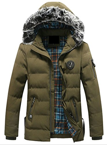 Faux Parka Jacket Long Coat 1 Fur amp;W M amp;S Hooded Collar Sleeve Down Men's wzfpnXnqP