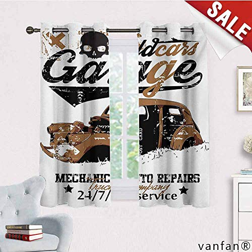 (100% Blackout And Energy Saving,Cars,Old Garage Mechanical Auto Repairs Truck Company Skull Grunge Display,For Bedroom/Living Room/Sliding Door/Patio Door,Pale Brown Black White,W63
