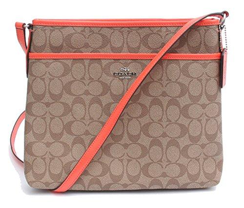 Coach Signature File Crossbody Bag (Khaki/Bright Orange)
