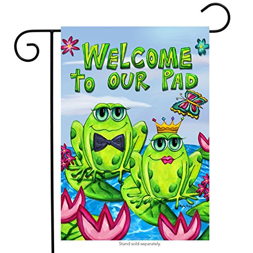(Briarwood Lane Frog Couple Welcome Garden Flag Butterflies Lily Pads Summer Ponds 12.5