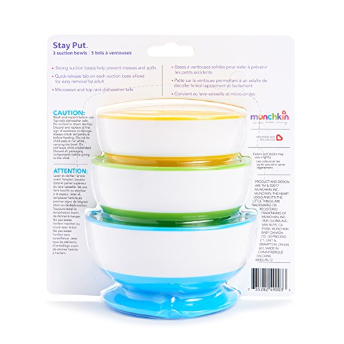 Large Product Image of Munchkin Stay Put Suction Bowl, 3 Count