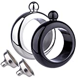 Bangle Bracelet Wine/Alcohol 3.5 oz Flask - Stainless Steel Black and Silver Creative Gift Set for Women - Bonus Funnel Included