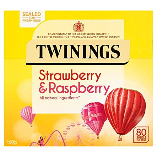 (Twinings Strawberry & Raspberry 80 Tea Bags Sugar Free, All Natural Ingredients)