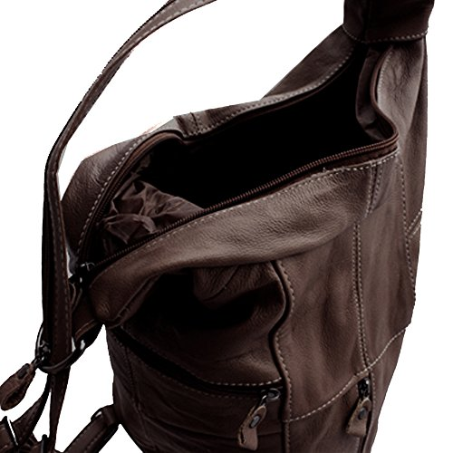 Cffee Silver Purse Sling Backpack Genuine Fever Leather Brown Organizer wfAIrf10q