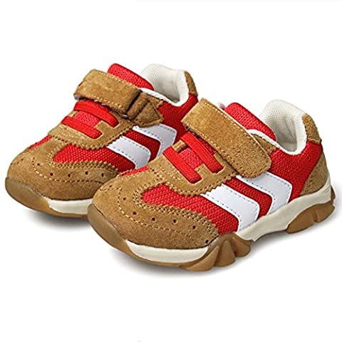 Boy's Leather Casual Outdoor Breathable Running Shoes Velcro Sneakers for 4-6Years Red 23# (Tennis Big Time Rush)