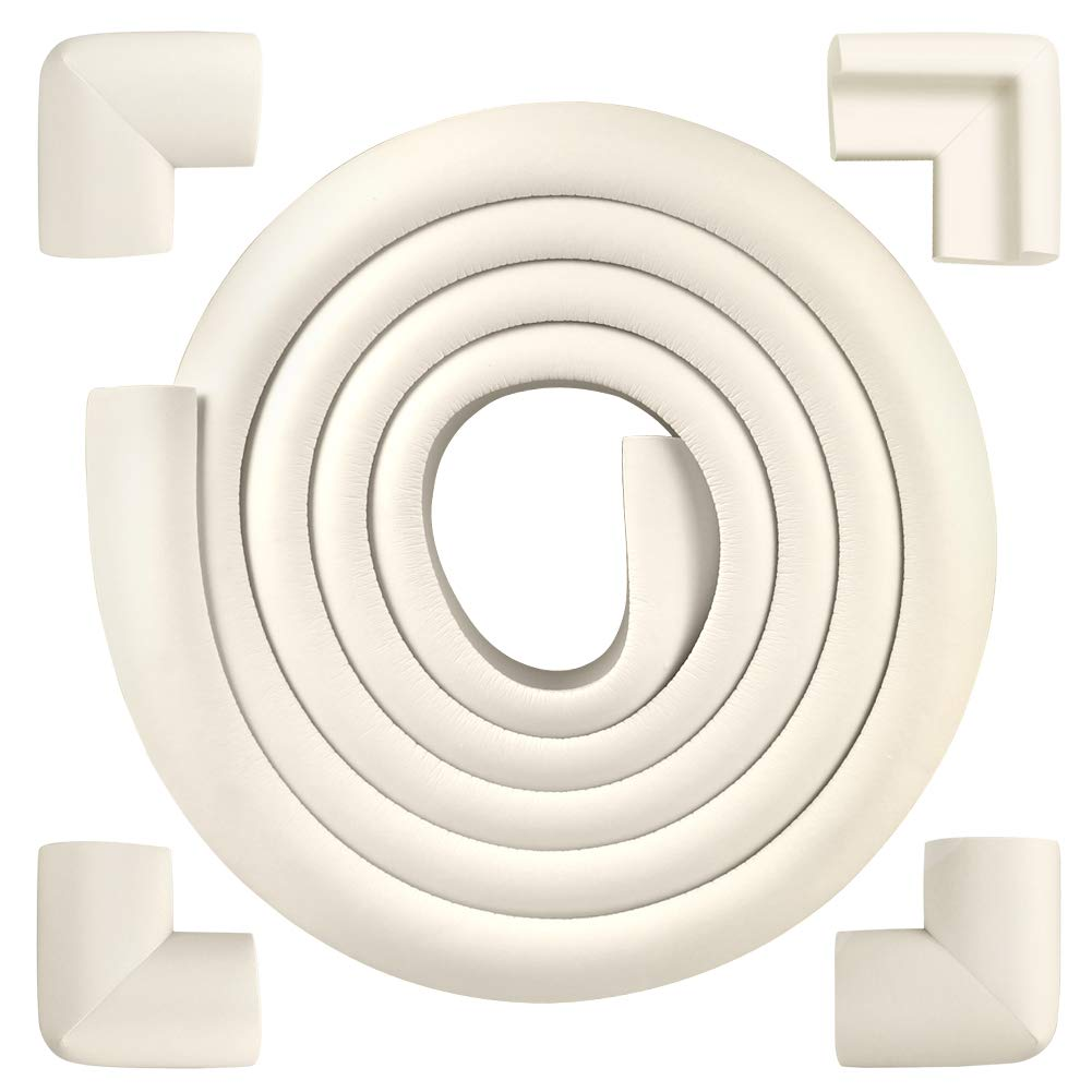 Baby Proofing Edge & Corner Guards, Extra Thick Safe Edge & Corner Cushion, Child Safety Furniture Bumper Foam Edge Protectors (6.56ft Edge + 4 Corners)