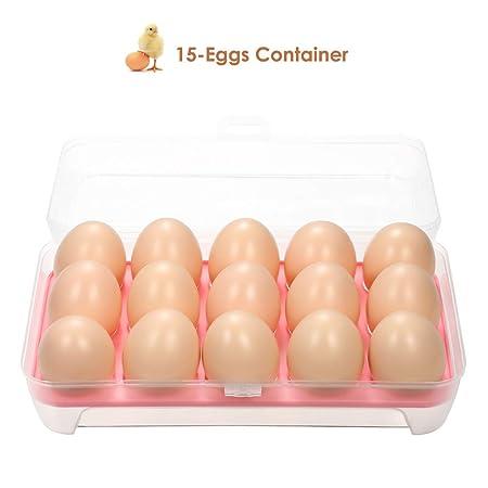 Blusea Huevera de plástico para la Nevera,15 Huevos Capacidad ...