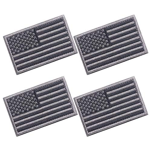 4 Pieces American Flag Patch 3.2 X 2.0 Inch Tactical USA Flag Patch Embroidered Cloth Sew on US Flag Patch (Black+Silver Grey)