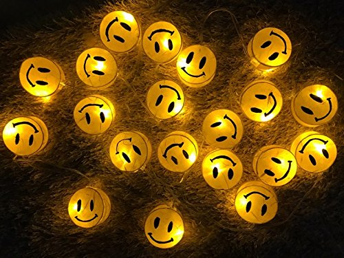 Battery AA LED Handmade Yellow Sun Smile Paper Lantern String Light Kid Bedroom Light Display Garland Colorful / 20 lights by Thai Decorated
