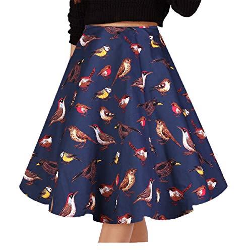 Musever Women's Pleated Vintage Skirts Floral Print Casual Midi Skirt Bird S (Dress Print Bird)