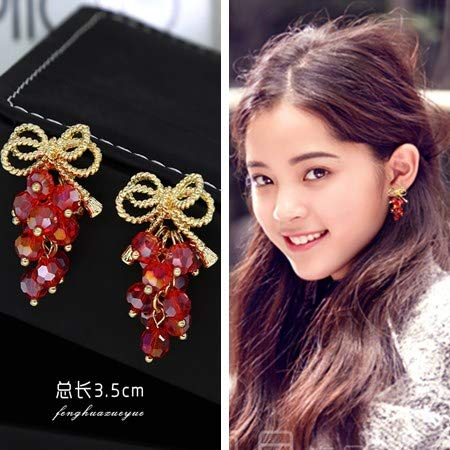 Merry Soviet Nation lijiang Jewelry Earrings Earring Ear Dangler Long Handmade Bride red Cheongsam Chinese Style Arena Accessories (red Grapes 2391 -