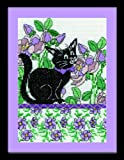 Tobin 14 Count Lilac Floral Cat Counted Cross Stitch Kit, 5 by 7-Inch