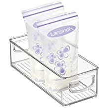 "mDesign Baby Food Kitchen Refrigerator Cabinet or Pantry Storage Organizer Bin with Handles for Breast Milk, Pouches, Jars, Bottles, Formula, Juice Boxes – BPA Free, 10"" x 4"" x 3"", Clear"