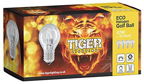 Halogen ECO-Lampe, Golfball, 4Stück G45(ES) Edison-Schraube (E27), dimmbar, Watt gleichwertig, 2000Stunden Leuchtdauer, Lumenausstoß 2700k