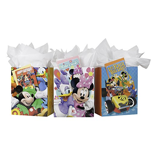 Hallmark Large Disney Jr. Gift Bag with Tissue Paper and Greeting Cards (Pack of 3, Mickey and Friends)]()