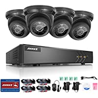 Annke 8CH 1080P Lite HD-TVI Security DVR Recorder System and (4) 1.0MP Outdoor Fixed Dome Cameras with IP66 Weatherproof Day/Night Vision, Motion Detection & Email Alert, NO HDD