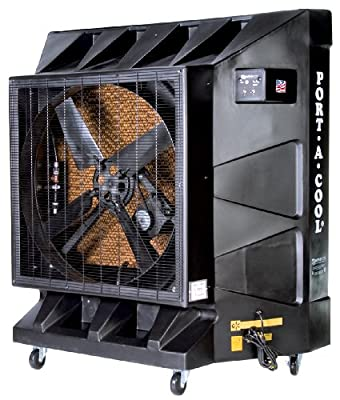 Port-A-Cool 36-Inch Portable Evaporative Cooling Unit, 9600 CFM, 2500 Square Foot Cooling Capacity, Black