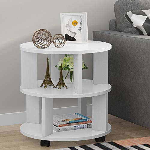 Tribesigns 3-Tier Chair Side End Table, Modern Nightstand Bedside Table with Storage Shelves and Rolling Wheels for Living Room, Bedroom (White)