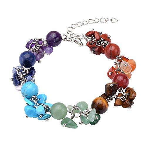 QGEM Chakra Gemstone Chip Bracelet Round Bead Healing Crystal - Stone Jewelry Gemstone Bracelets Multi