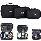 Damai 3pcs/set Portable Electronic Accessories Travel Organizer Case (Black)