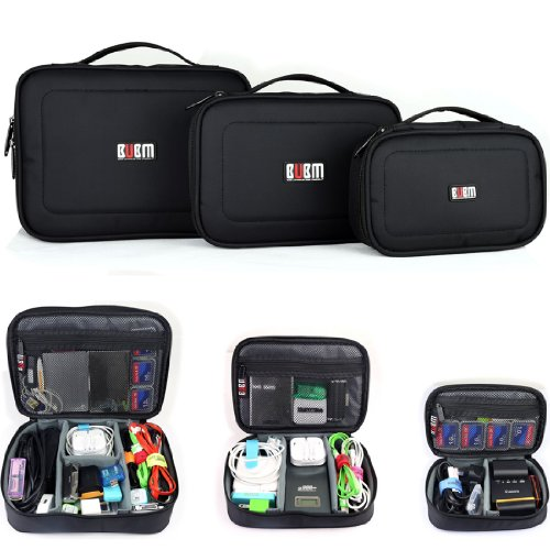 BUBM 3pcs/Set Travel Cable Organizer, Portable Cord Cable Gear Organizer Electronic Accessories Case