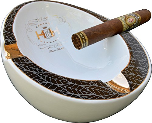 H & H Insignia Collection - White Oval - Cigar Ashtray by H&H
