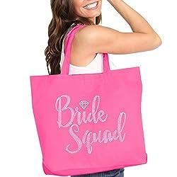 Diamond Motif Rhinestone Hot Pink Totes-Bride Suqad