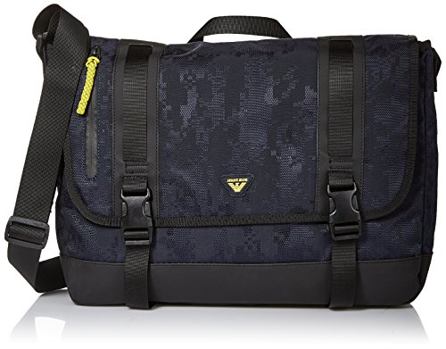 Armani Jeans Men's Jacquard Fabric and Rubberized Messenger Bag by ARMANI JEANS