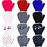 12 Pairs Toddler Knitted Gloves Stretch Full Finger Mittens Winter Warm Knitted Unisex Kid Gloves for Baby Boys and Girls Supplies