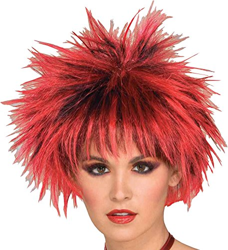 Forum Novelties Women's 80's Spiked Punk Costume Wig, Red, One Size