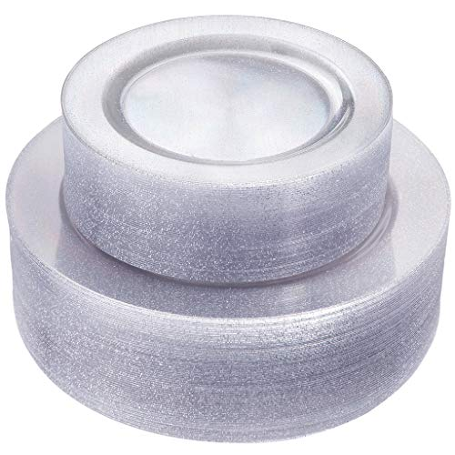 IOOOOO 102 Pieces Sliver Plastic Plates, Silver Glitter