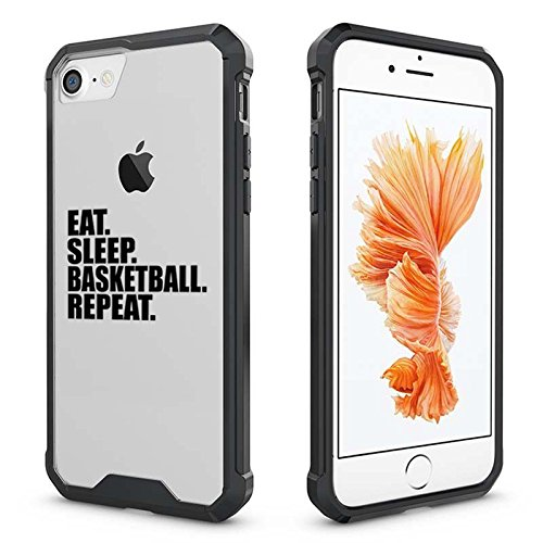 For Apple iPhone Clear Shockproof Bumper Case Hard Cover Eat Sleep Basketball Repeat (Black For iPhone 6 / (Hard Basketball)